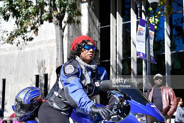 Woman on a motorcycle during the parade of Martin Luther King in Orlando, Florida.