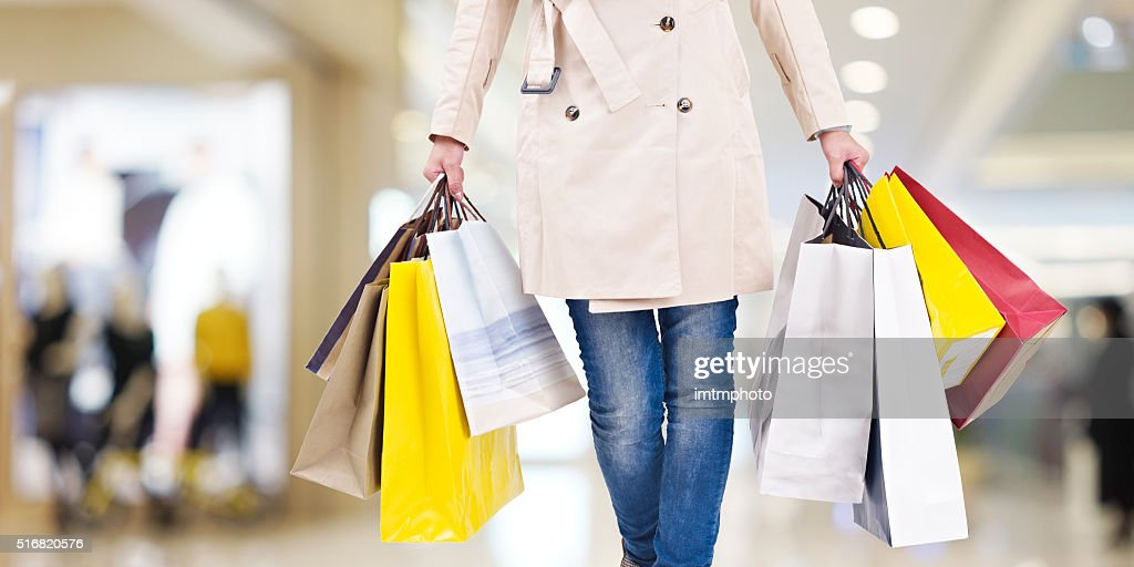woman on a shopping spree : Stock Photo