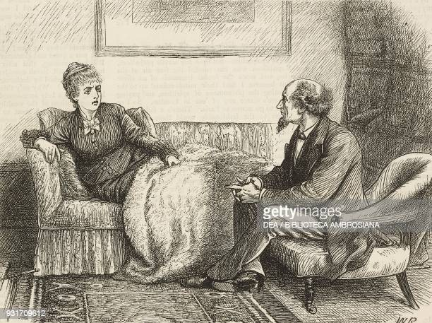A woman on a sofa and a man in an armchair from the novel Black Spirits and White chapter XXXIX by Frances Eleanor Trollope United Kingdom...