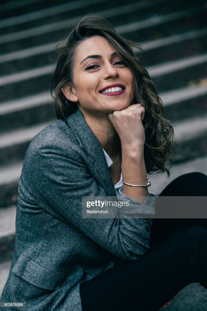 Woman on a staircase : Stock Photo
