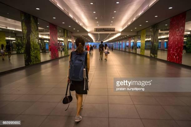 Woman on a walkway