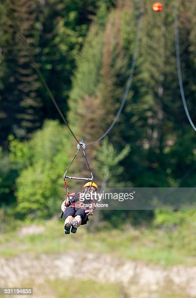 A woman on a zip line in Whitefish, Montana.