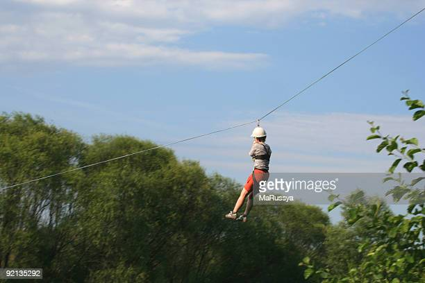 Woman on a zip line