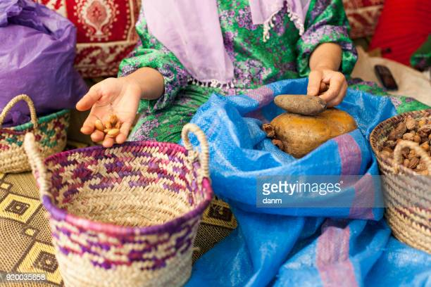 Woman on argan oil factory in Morocco
