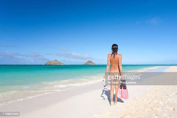 Woman on beach, Hawaii