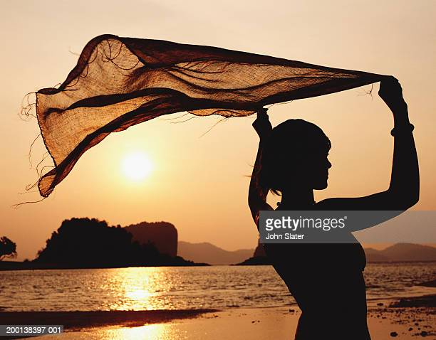 Woman on beach holding flowing scarf over head, silhouette