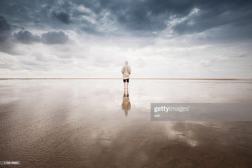Woman on beach, Schleswig Holstein, Germany : Stock Photo