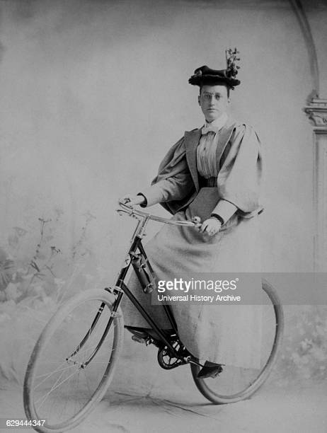 Woman on Bicycle Studio Portrait Wells River Vermont USA circa 1890