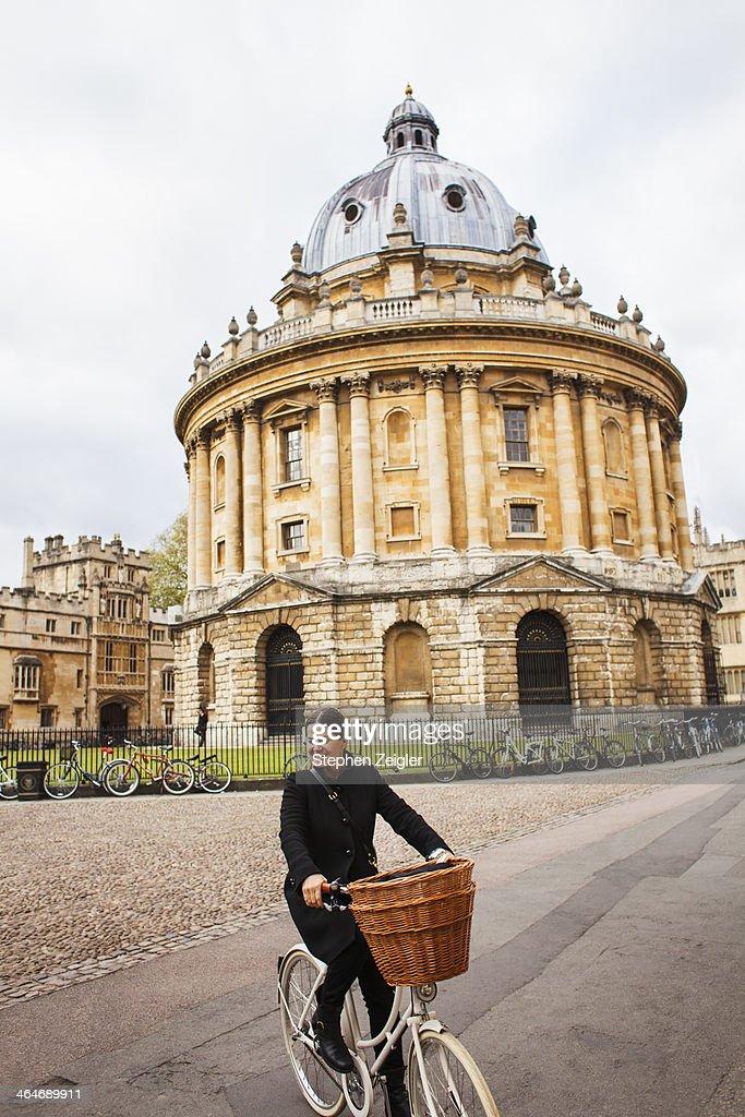 Woman on bike in Oxford, UK : Stock Photo