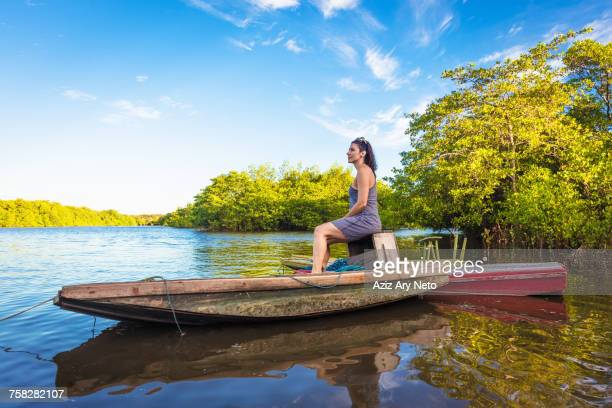 woman on boat, fortaleza, ceara, brazil, south america - asymmetry stock pictures, royalty-free photos & images