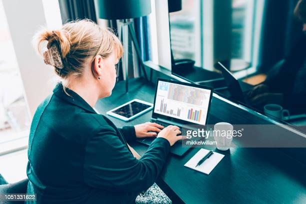 Woman on business travel types on laptop in hotel room