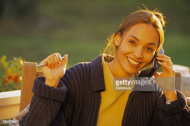 Woman on cell phone outdoors