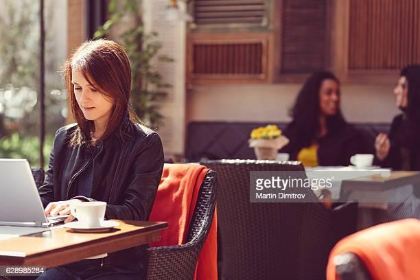 Woman on coffee break