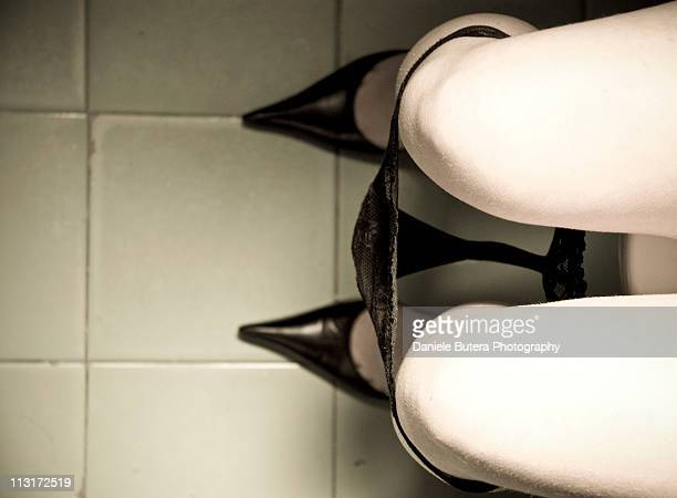 Woman on desolate toilet