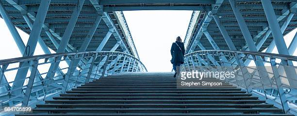 Woman on footbridge over the Seine River