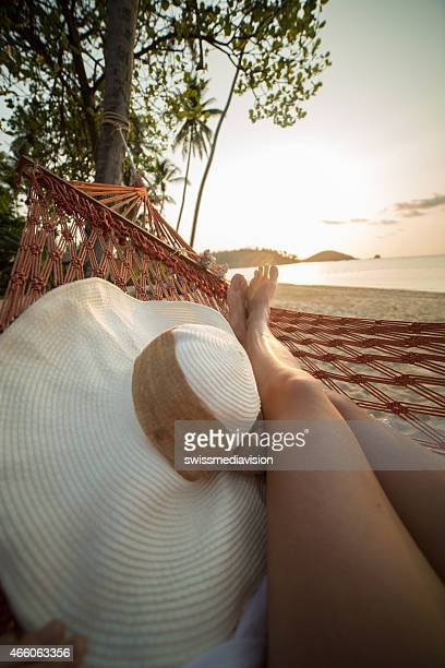 Woman on hammock-Point of view from woman's perspective