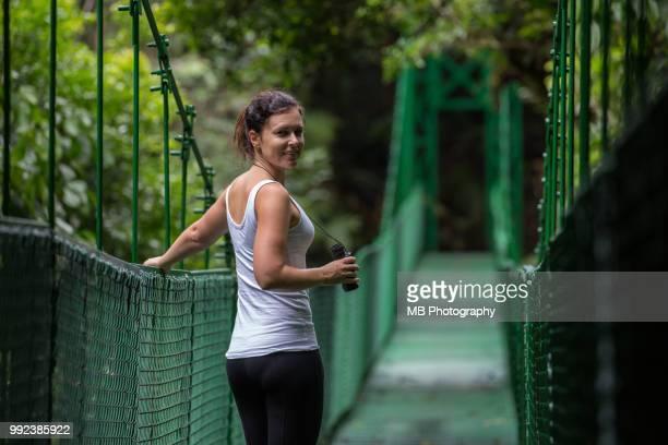 Woman on hanging bridges