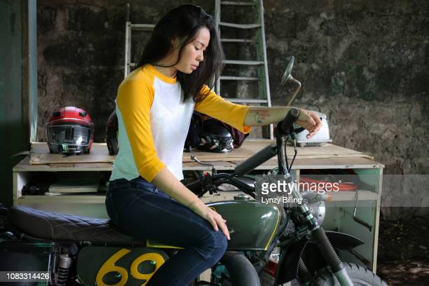 woman on her motorcycle