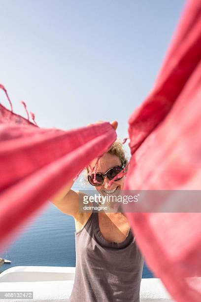 Woman on holiday in Santorini