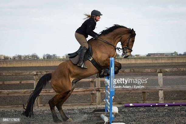 Woman On Horse Jumping Over Fence Against Sky