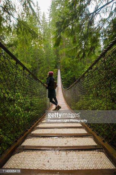 woman on lynn canyon suspension bridge, north vancouver, british columbia, canada - lynn pleasant stock pictures, royalty-free photos & images