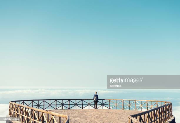 woman on madeira island enjoying the view - madeira island stock photos and pictures