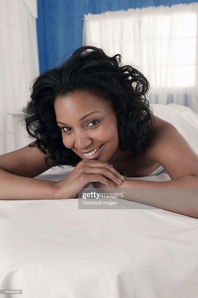 Woman on massage table : Stockfoto