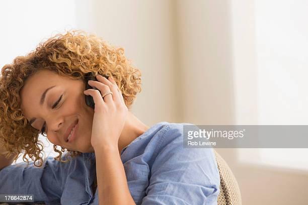 Woman on mobile phone, portrait