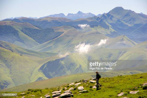 woman on mount urkulu, navarre, spain. - navarra stock pictures, royalty-free photos & images