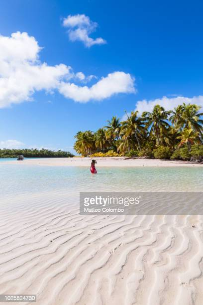 Woman on One Foot Island, Aitutaki, Cook Islands