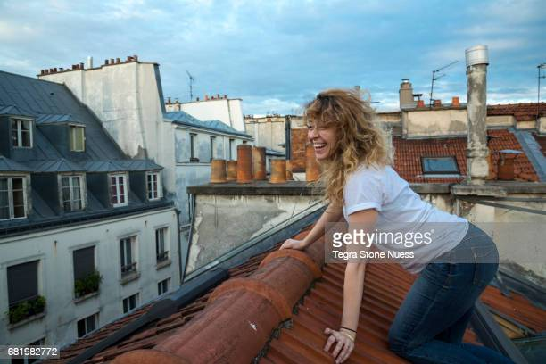 Woman on Paris rooftop