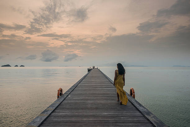 Woman On Pier, Taling Ngam Beach, Ko Samui, Thailand Wall Art