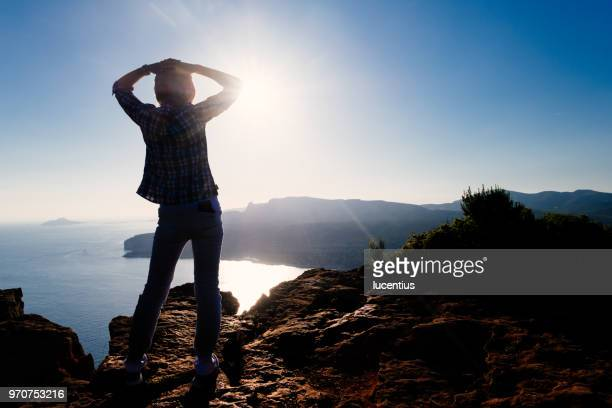 woman on route des cretes, provence, france - calanques stock pictures, royalty-free photos & images