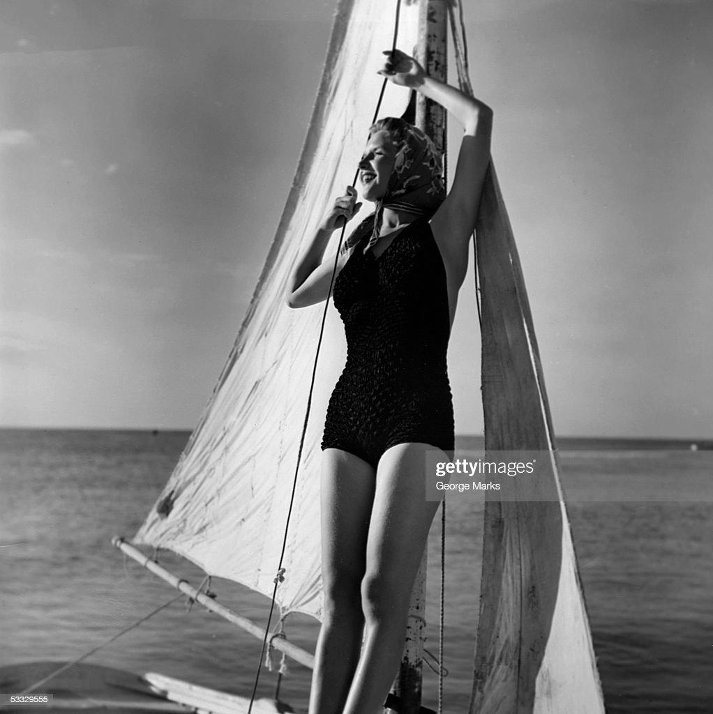 Woman on sailing boat : Stock Photo