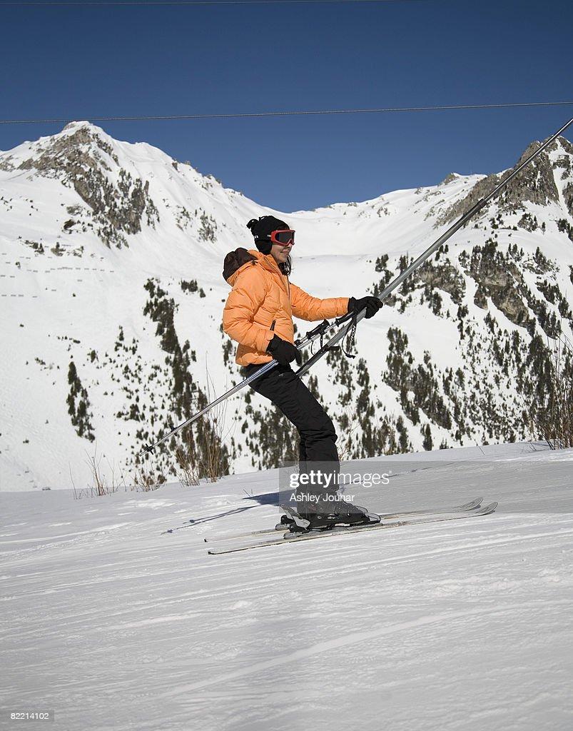 Woman on ski chair : Stock Photo