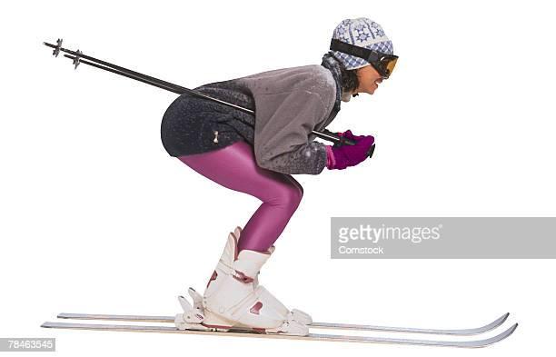 Woman on snow skis