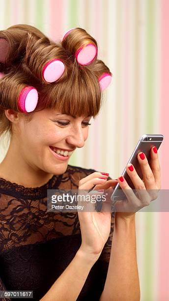 Woman on social media on phone