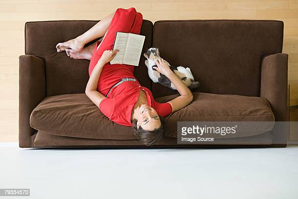 Woman on sofa with cat