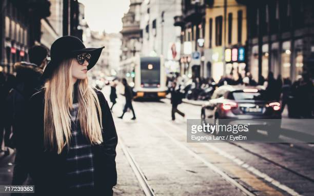woman on street - milan street style stock photos and pictures