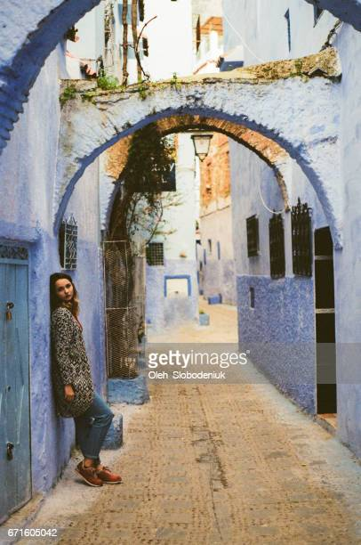 Woman on Streets of Chefchaouen