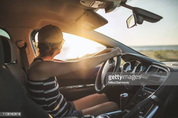 woman on summer road trip - musical equipment stock pictures, royalty-free photos & images