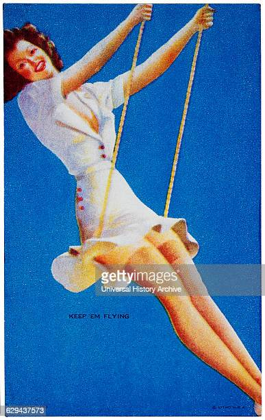 Woman on Swing 'Keep 'Em Flying' Mutoscope Card 1940's