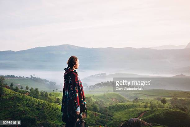 Woman on tea plantation in India