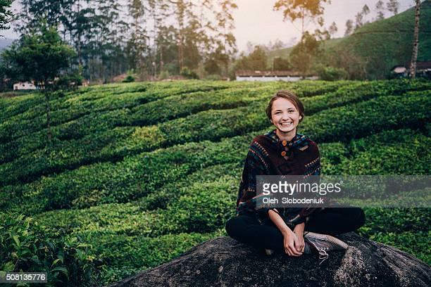 Woman on tea plantation in India