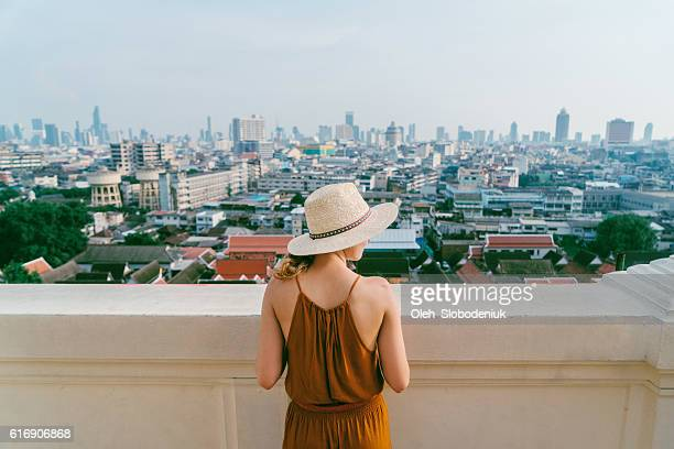 Woman on the background of Bangkok