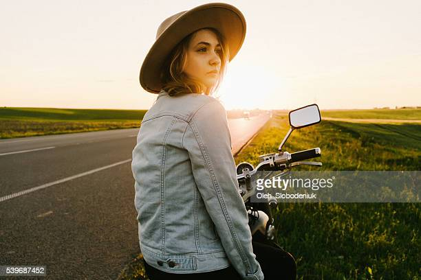 Woman on the motorcycle