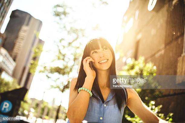 woman on the phone in Montreal
