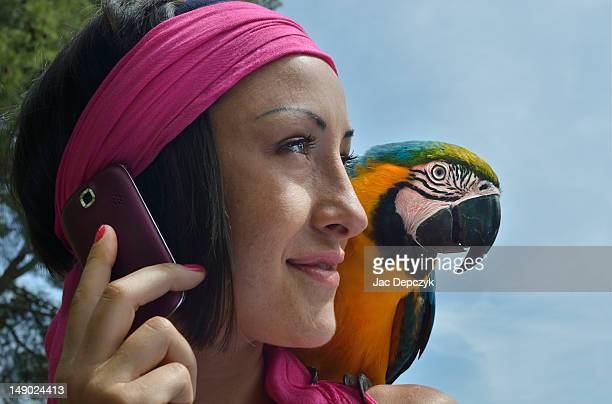 a woman on the phone with a parrot on her shouder - depczyk stock pictures, royalty-free photos & images