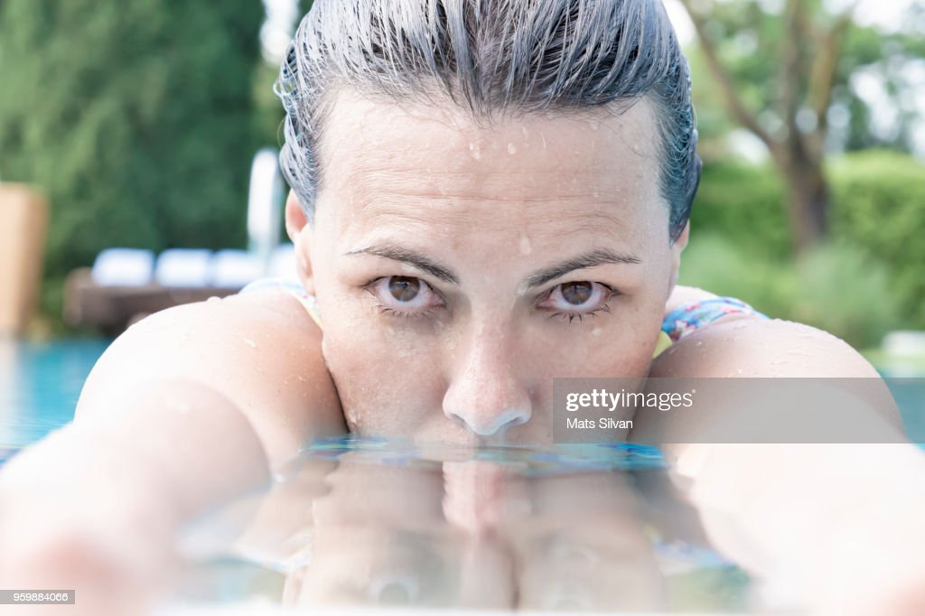 Woman on the Poolside : Stock-Foto