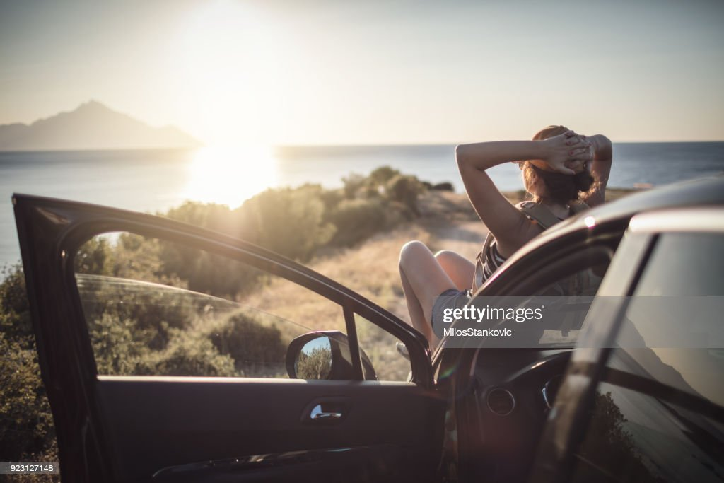 Woman on the road trip : Stock Photo